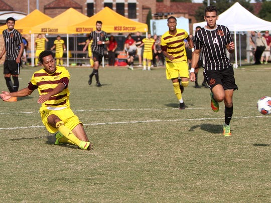 Midwestern State's Christian Okeke scores against Colorado Mesa in the 88th minute to win the match for the Mustangs 1-0 Sunday, Nov. 13, 2016, at the MSU Soccer Field. The Mustangs will head to San Diego to play St. Edward's in the third round of the NCAA Division II Championships.