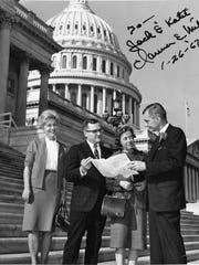 U.S. Rep. Clarence Miller, right, a former Lancaster mayor, meets with (from left) Helen Miller, Jack Powell and Katherine Hastings Powell in front of the capitol building in 1966.