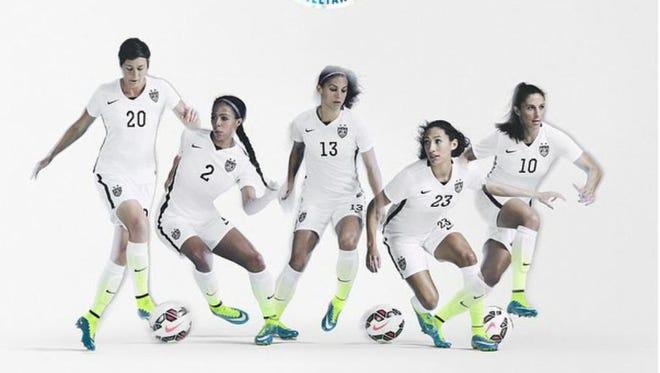 The U.S. home uniforms are white, neon and black.