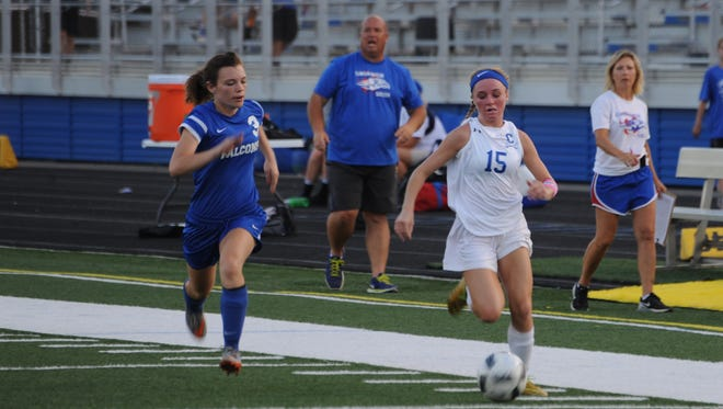 Chillicothe's Payten Davis dribbles in the first half of Tuesday's contest against Clinton-Massie at Herrnstein Field. Davis scored her 81st and 82nd career goals against the Falcons, setting a new county record.