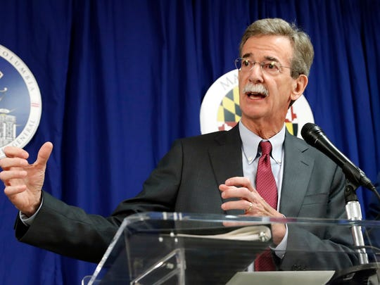 FILE - In this June 12, 2017 file photo, Maryland Attorney General Brian Frosh speaks during a news conference in Washington. A spokeswoman for Frosh says the state is suing the U.S. Environmental Protection Agency for failing to act on a petition requiring power plants in five upwind states to reduce pollution.