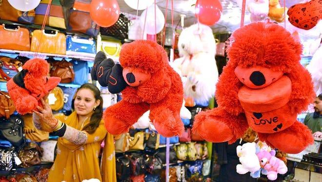 Valentine's merchandise in a shop in Lahore, Pakistan last week.