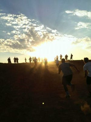 Desert Ridge ran up  the hill in Winslow on the last day of football  camp.