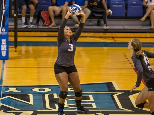 Jasmine Johnson (3) has gotten off to a fast start as EMU's setter this year.