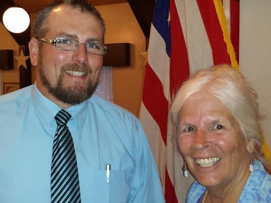 The newly elected Vice Chair Chad Collie, left, of Highland Township and newly re-elected Chair Elizabeth Hower of Huntington Township.