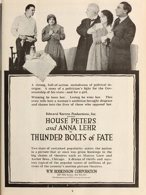 "A poster for the silent film ""Thunder Bolts of Fate,"" filmed in Asheville."