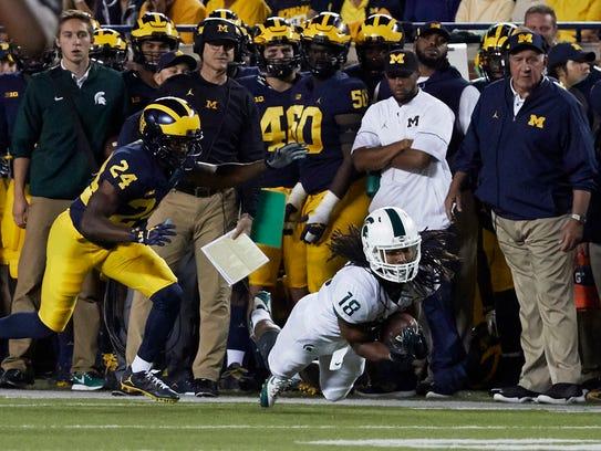Oct 7, 2017; Ann Arbor, MI, USA; Michigan State receiver