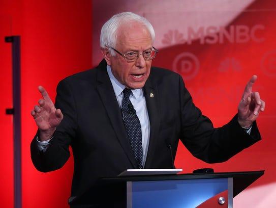 Bernie Sanders speaks during the Democratic debate