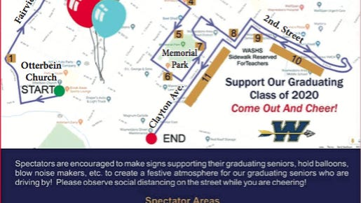 This is a map of the route for Saturday's Senior Ride through town to celebrate the Waynesboro Area Senior High School Class of 2020. PROVIDED GRAPHIC