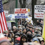 In this file photo, gun rights advocates demonstrated outside the Capitol in 2013 in Albany.