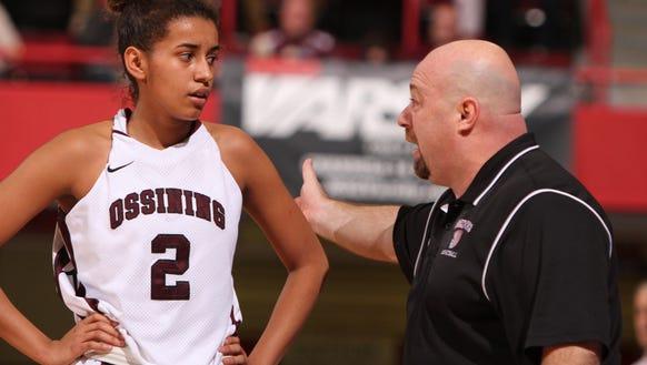 Ossining's Andra Espinoza-Hunter listens to coach Dan
