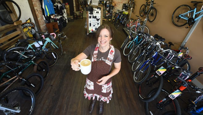 Marcia Blome is the barista and manager of the Cycle Works coffee shop in Wrightsville, a business that works in conjunction with her husband, who runs the bicycle end of the business.