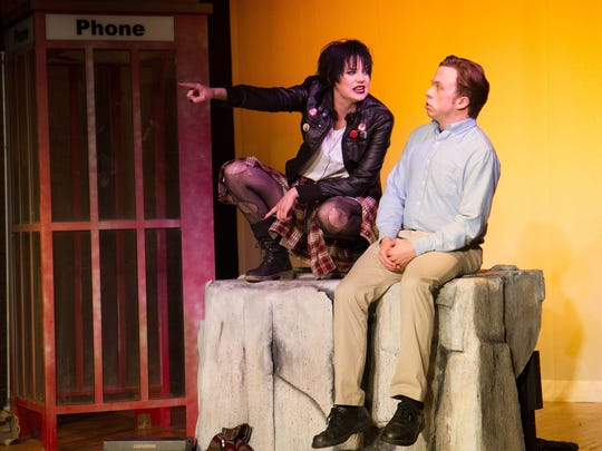 """Patrick John Kiernan and Kate Atack rehearse for """"Shiner"""" this week at Good Luck Macbeth Theater. The play focuses on two teenagers, Jake and Margot, who are fans of Nirvana in the weeks leading up to Kurt Cobain's suicide."""