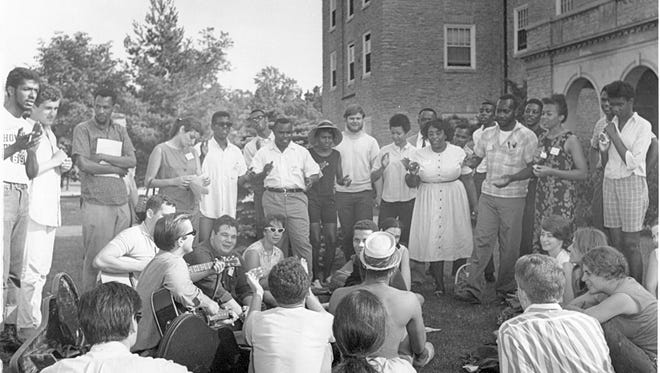 Civil rights activists gather outside of Clawson Hall at Western College for Women in June 1964. Western now is part of Miami University.