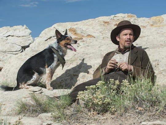 "Jumpy and Ethan Hawke in a scene from ""In a Valley"