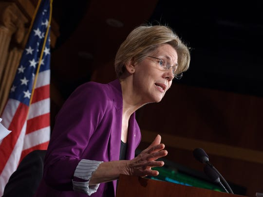 Sen. Elizabeth Warren of Massachusetts delivering remarks to a crowd.