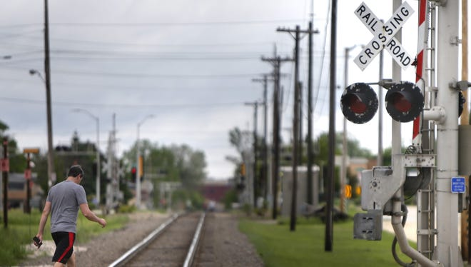 The railroad crossing at Franklin and Division streets in Appleton would be part of a proposed railroad quiet zone.