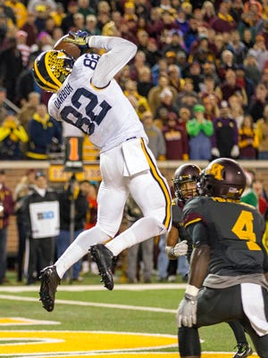 WR Amara Darboh. Projected round: 3-5. He could be one of the surprise risers in the draft. Not a freak athlete, but ran faster than most expected. Not a size monster, but is big enough to catch nearly any pass. And he always catches the ball. Darboh does everything a team wants and is very consistent, a valued trait in the NFL.