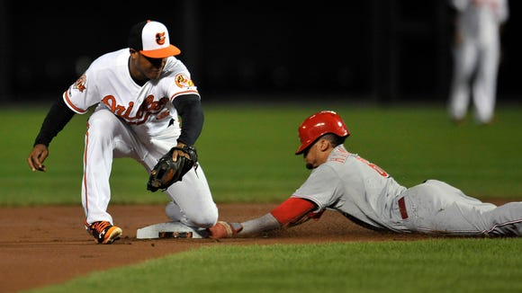 Cincinnati Reds center fielder Billy Hamilton (6) steals second base safely as Baltimore Orioles second baseman Jonathan Schoop (6) does not get the throw in time. It was Hamilton's 55th stolen base of the season.