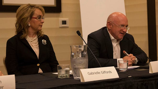 Former Rep. Gabby Giffords and her husband Mark Kelly encouraged increased civility during the 2016 presidential campaign at a National Institute for Civil Discourse event in Washington, D.C.