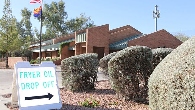 Fire Station 204 in Mesa directs people to a used-oil recycling bin.