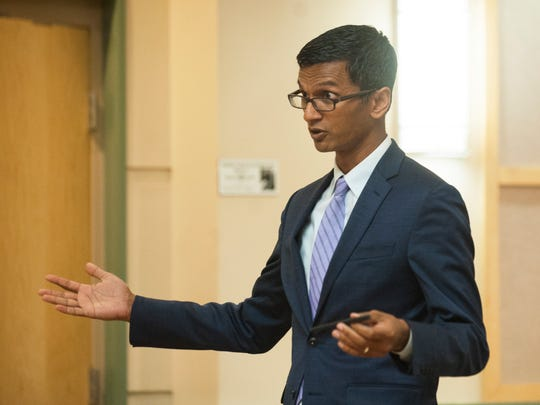 Attorney Alex Varghese speaks during the detention hearing of double-murder suspect Daniel Brennan in Cumberland County Superior Court in Bridgeton on Monday, August 6, 2018.  Brennan did not appear during the hearing.
