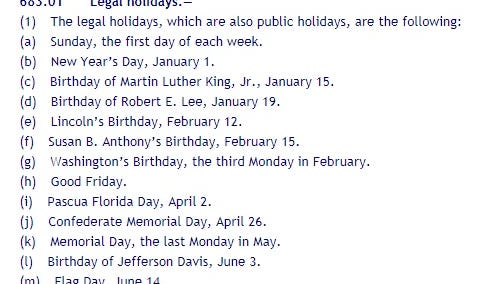 Screenshot taken of the web page displaying Florida's legal holidays under state statute.