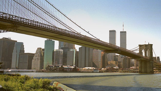 The Brooklyn Bridge, shown in this 1999 photo, was the longest steel-cable suspension bridge in the world upon its completion in 1883.