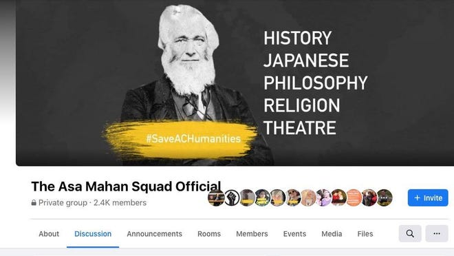 This screenshot shows the header of The Asa Mahan Squad Facebook group, which was created in reaction to proposed faculty cuts at Adrian College. The group was started on Aug. 24 and has about 2,400 members.