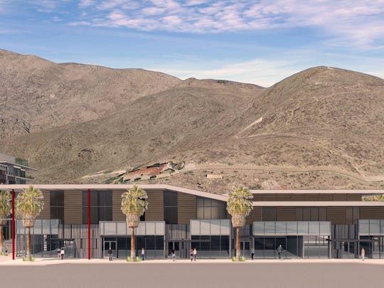 An architect's sketch of the building known as Block B, fronting Palm Canyon Drive, in the redevelopment of downtown Palm Springs.