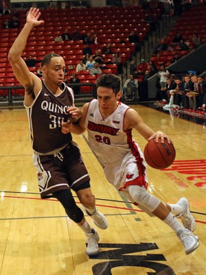 Drury's Lucciano Gamiz drives to the basket during Thursday night's game against Quincy.