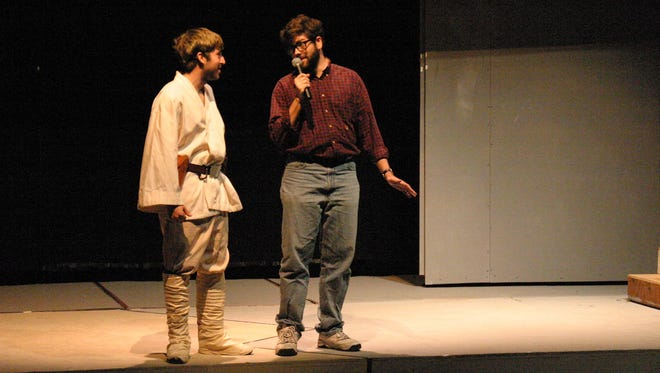 """NOVEMBER 2005: Matt Cibbo, left, portraying Luke Skywalker, and Jeff Suess, as """"Star Wars"""" creator George Lucas, are part of the parody musical, """"Star Wars Trilogy: Musical Edition,"""" performed at the Massachusetts Institute of Technology (MIT)."""