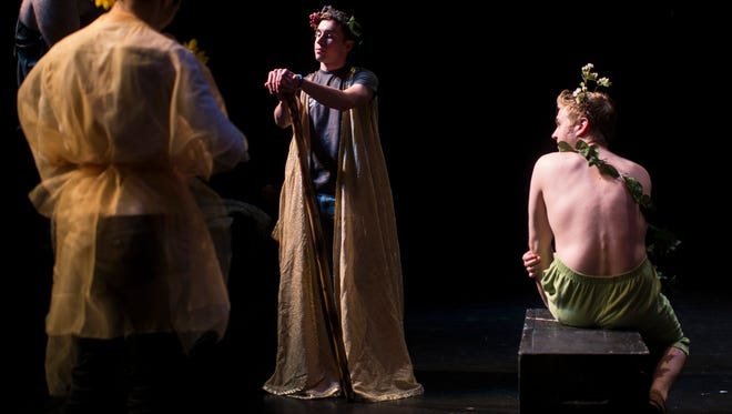 Jake Hofner, center, in costume as Oberon before a dress rehearsal of ' A Midsummer Night's Dream'  at Rutgers-Camden in June. The Ignoble Shakespeare Company is now performing 'As You Like It' this weekend in Collingswood.