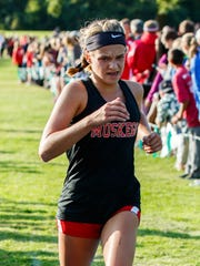 Muskego freshman Sara Jochims runs to a 12th place finish in the West Allis Hale Leighton Betz Invitational cross country meet at Greenfield Park on Friday, Sept. 1, 2017.
