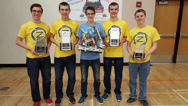 Team 1200F Z-Ballers, from left, comprised of Joseph Kerwin, Matthew Glen, Colin Higgins, Nathan Berg and Erik Meier, has won each of the last four competitions they participated in.