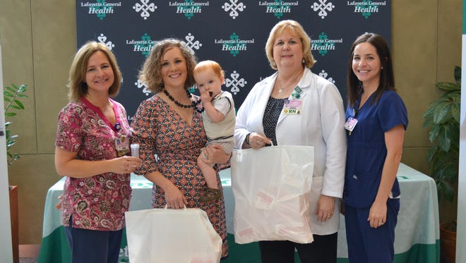 Left to Right: Darlene Leblanc, RN, Meghan Allen, RN, Judy Robichaux, RN, Director of Maternal-Newborn and Ped's Services, Jeanne Simon, RNC, Clinical Nurse Manager