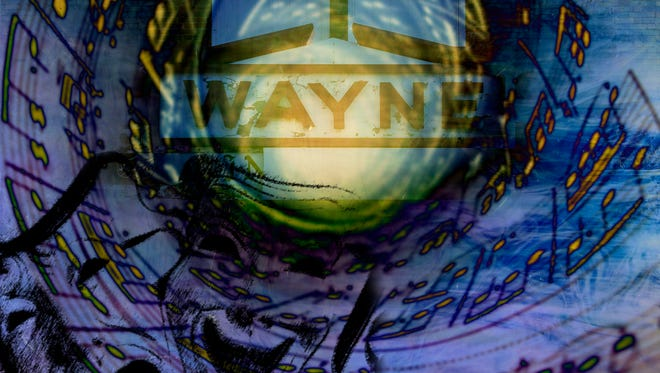 """""""Wayne Two"""" is part of a digital composite series by artist Kevin Blackburn, owner of The Blackburn Gallery in Nellysford, Virginia, on exhibit at the Wayne Theatre in """"Celebrating the Legacy of the Wayne Theatre in the 21st Century."""""""
