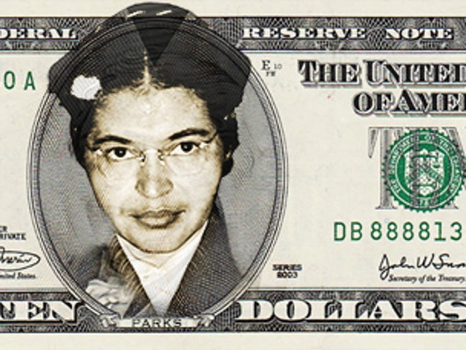 A USA TODAY mockup of a $10 featuring Rosa Parks