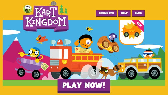 Welcome page of Kart Kingdom, a new online world debuting Tuesday from PBS Kids