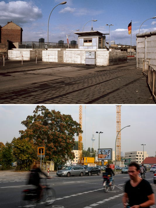 Germany Berlin Wall Anniversary Then and Now (2)
