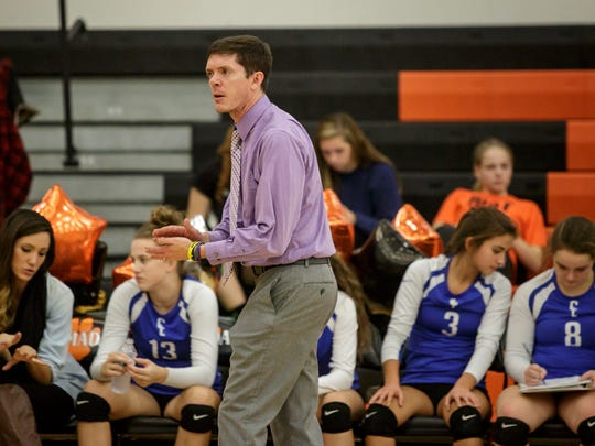 Croswell-Lexington coach Ryan Wilson communicates with players from the sideline during a volleyball game Thursday, Oct. 27, 2016 at Armada High School.