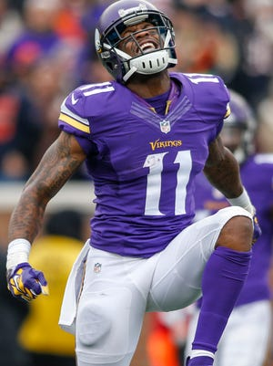 WR Mike Wallace's production dipped in Minnesota last year.