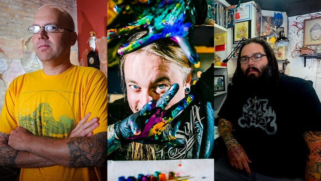 """Lansing tattoo artists from left to right, Eric Jenks, Sean Peters and Paul """"Mexone"""" Vetne."""