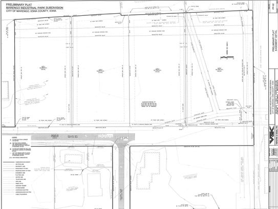 Drawings of the plats for four lots at the Marengo