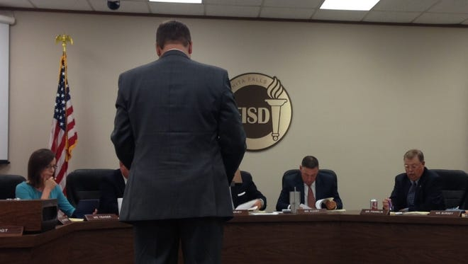 Tim Sherrod, WFISD CFO, gives a monthly financial report Monday night to the WFISD board of trustees.