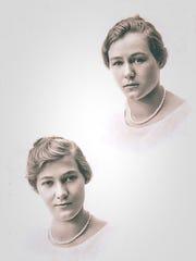 A high school photo of Gladys, left, and Goldys Triplett.