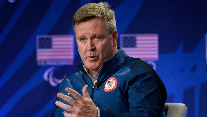 USOC CEI Scott Blackmun speaks during a press conference at the 2016 Team USA Media Summit in Los Angeles.