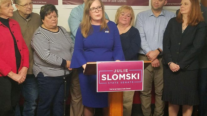 Democrat Julie Slomski announces her run for state Senate on Jan. 17 at a news conference in Erie.
