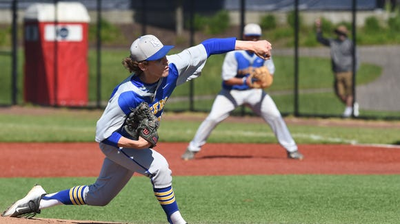 North Salem's Connor Mahoney throws a pitch during