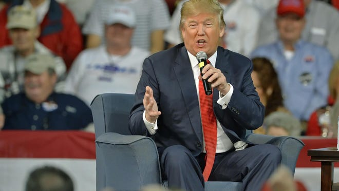 Republican presidential candidate Donald Trump speaks at a town hall meeting on the University of South Carolina Aiken campus Saturday.